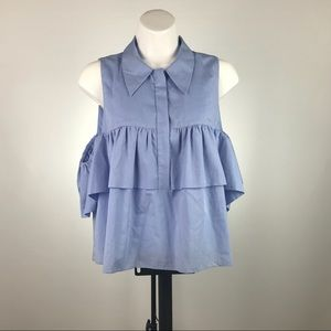 Zara Trafaluc Collection Cold Shoulder Blue Blouse